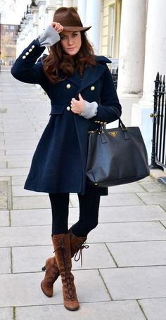 Navy blue coat with gold buttons