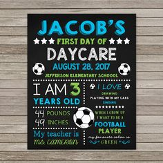 First Day of Daycare Chalkboard First Day of Daycare Football