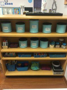 Pre-K classroom set up. Art supplies.