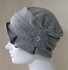#Handmade Gray Pinstripe #Flapper #Cloche by BaroqueAndRoll on Etsy, $54.00