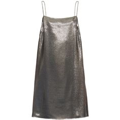 Saint Laurent Square-neck lamé cami dress (57,030 DOP) ❤ liked on Polyvore featuring dresses, silver, going out dresses, laced dress, lame dress, slip dress and cami slip dress
