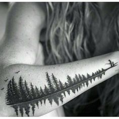 """Reflective trees, also a soundwave of a father saying the word """"Babydoll"""" to his daughter. A special request to represent a nickname and a loving memory of a girl and her father in a familiar setting outdoors fishing. Schallwelle Tattoo, Wald Tattoo, Piercing Tattoo, Body Art Tattoos, New Tattoos, Tattoos For Guys, Sleeve Tattoos, Piercings, Tatoos"""
