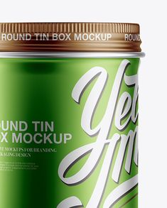 Metallic Round Box Mockup - Front View (Close-Up)