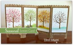 Sheltering Tree, Hardwood (background stamp), Decorative Label & Scallop Edge border punches, Itty Bitty Accents Punch Pack - Seasonal Screen Card for Paper Art Tarts