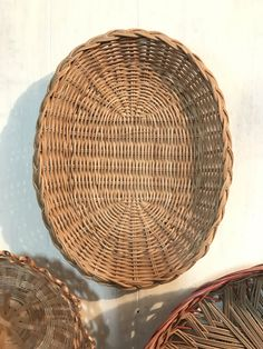 woven rattan basket - small oval basket tray - wicker boho wall decor by ninedoorsvintage on Etsy
