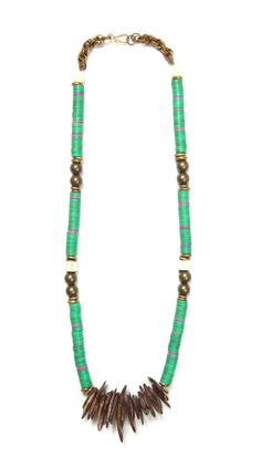 iggy necklace green and pink recycled vinyl, salmon vertebrae, brass beads and carved teakdrop necklace