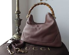 332577e06a3c Gucci Diana Bamboo Handle Large Shoulder Hobo in Pink Tan Calfskin -SOLD