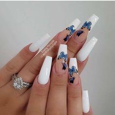 White Tip Acrylic Nails, Long Square Acrylic Nails, Acrylic Nails Coffin Short, Summer Acrylic Nails, White Coffin Nails, Spring Nails, Summer Nails, Bijoux Louis Vuitton, Nagellack Design