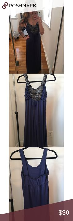 Deep Blue Beaded Maxi Deep blue maxi dress to the floor , thick  straps & bra friendly (straps not adjustable) metal & matte sequin details front of the chest . Was worn for a picture but other than that its new ! Soprano Dresses Maxi