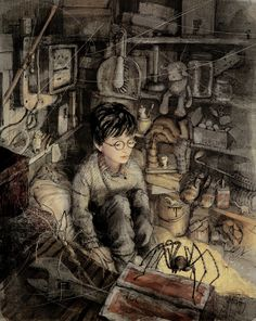 Harry Potter Illustration - from the Special Edition. The German Harry Potter books are great . Harry Potter Fan Art, Magia Harry Potter, Fans D'harry Potter, Harry James Potter, Harry Potter Books, Harry Potter Universal, Harry Potter Fandom, Harry Potter World, Harry Y Hermione