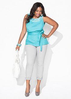 Ashley Stewart... plus size outfit white dress pants shirt cute sassy beautiful