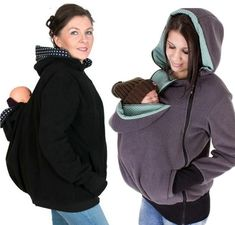 This baby carrying hooded jacket is practical, cozy, adaptable and super stylish. A must-have for moms and their babies! The front of the jacket has a wide poc