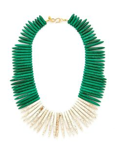 Green & White Spiked Necklace by Kenneth Jay Lane (one of my favourite jewelry designers) I Love Jewelry, Jewelry Box, Jewelery, Jewelry Design, Unique Jewelry, Costume Jewelry, Turquoise Necklace, Fashion Accessories, Handmade Jewelry