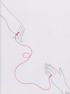 The Red Thread of Fate. by melancholiadoll on DeviantArt Fate Tattoo, Art Sketches, Art Drawings, Red String Of Fate, Thread Art, Art Base, Hand Art, Wallpaper Iphone Cute, Future Tattoos