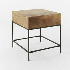 """Rustic Storage Side Table - Cafe - 20""""w x 22""""d x 22""""h. Solid mango wood with natural color variations."""