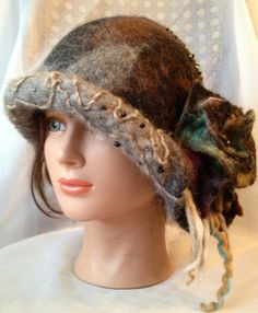 nunofelt hat felted black brown grey gray cloche One of a kind designer hat ladies felted , merino wool with brooch or without it