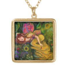 Slumber of Flower Guardian Gold Finish Necklace