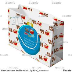 Blue Christmas Bauble with Santa's & Sleigh Large Gift Bag
