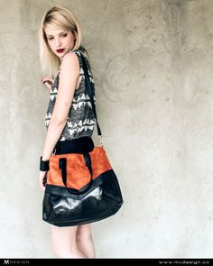 MVD No.5 #bags #bag #fashion #model #style #stylish #inspiration #mvdesign #handmade #orange #black #irenacanic  Like us on FB: https://www.facebook.com/mvdesignCO http://www.mvdesign.co/