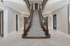 5 bedroom detached house for sale in Charters Road, Sunningdale, Berkshire, - Rightmove. Luxury Staircase, Grand Staircase, Staircase Design, French Provincial Home, Ideal Home Show, Traditional Staircase, Staircase Makeover, Wooden Staircases, Hallway Designs
