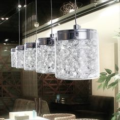 Online Shop New modern brief personality led crystal pendant light bar lamp for restaurant lamp Cup filled with crystal free shipping expres Aliexpress Mobile