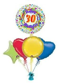 30th Spinning Star Balloon King Birthday Balloons