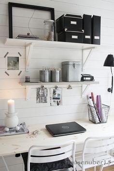 """IKEA SPOTTED // EKBY VALTER brackets (11"""" and 71/8"""" available but no longer in white), EKBY OSTEN shelf in white, VIKA FURUSKOG table top, VIKA LERBERG trestle in white, KASSETT dvd box with lid in black, KASSETT magazine file in black"""