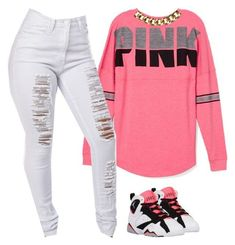 A fashion look from July 2015 featuring Victoria& Secret PINK sweatshirts and Club Manhattan necklaces. Browse and shop related looks. Teenage Outfits, Swag Outfits For Girls, Cute Swag Outfits, Pink Outfits, Dope Outfits, Teen Fashion Outfits, Look Fashion, Fashion Fall, School Outfits