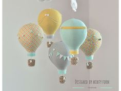 Mint Yellow Gray Orange White Hot Air Balloon Mobile Travel Theme Nursery Decor Custom Mobile World Map Hot air balloon baby mobile in Mint, Yellow, Gray, Orange, Green and White fabrics. Each balloon is hand made from fabrics adorned with buttons, pompoms, lace, ribbons, bows, bunting