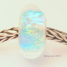 Blue Opal Dichroic Sparkle Bead for Pandora, Troll Bracelet ML SRA Lampwork Murano Glass European Charm. $38.00, via Etsy.