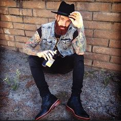Levi Stocke - full thick red beard and mustache beards bearded man men mens' style street fashion clothing tattoos tattooed hats moonshine #beardsforever