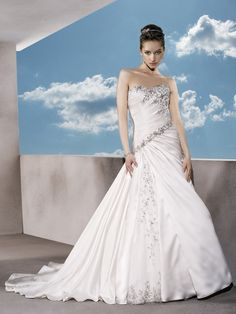 Satin Strapless A Line Wedding Dress Sweetheart Neckline A Symmetrical Ruching and Beading