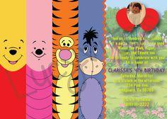 Winnie the Pooh & Friends Invitation - Digital File; I like this idea for bookmarks