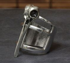 BIRD SKULL CAGE RING WICCA GOTH PUNK SILVER KNUCKLE ARMOR RAVEN TRIBAL STATEMENT #Unbranded
