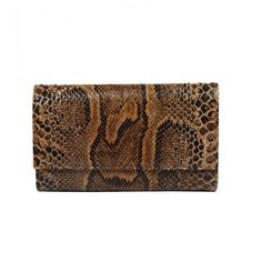 Snakeskin Envelope, brown with black details and a gold chain. Gold Chains, Snake Skin, Envelope, Handbags, Detail, Brown, Black, Totes, Envelopes
