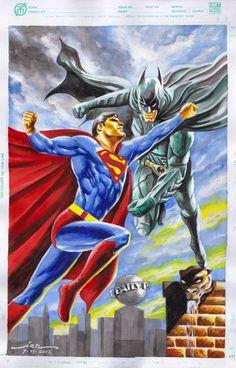 #Superman #Batman #Fan #Art. (Superman Vs Batman) By: Ianrialdi. (THE * 5 * STÅR * ÅWARD * OF: * AW YEAH, IT'S MAJOR ÅWESOMENESS!!!™)[THANK U 4 PINNING!!!<·><]<©>ÅÅÅ+(OB4E)