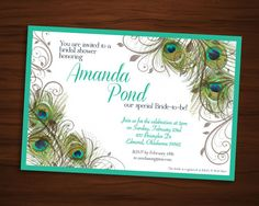 peacock bridal shower invitation by mountaintopannounce on etsy