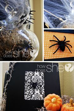 Paint canvas black, cute black and white paper in the middle, glue on spider.  Freakin' love this and it's CHEAP!!!  :-0