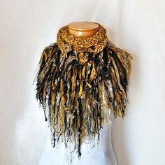 Gold  triangle scarf Cowl neck Ribbon yarn shawlette Knit scarf  Black fringe Fashion scarflette Evening wear party