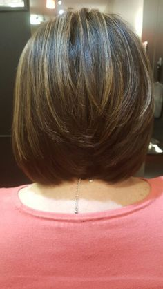 Brown A-Line bob with soft highlighting