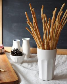 Recipe: Breadsticks--easy to roll and cut using a manual pasta machine with the fettuccine attachment.