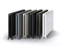 The gorgeous new Tetro combines all the benefits of aluminium radiators with beautiful retro styling. The Tetro Radiator comes with an impressive 15 year warranty and is available in 6 elegant colours. From left to right: Black Sable, Bismuth, Champagne, Volcanic, Marron and White (RAL9010)