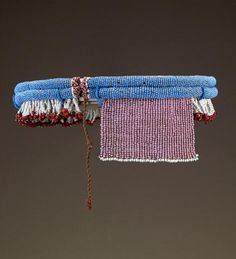 Africa | Cache-sexe from the Zulu people of South Africa | late 19th to early 20th century | Glass beads, cloth and plant fiber