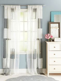 Patchwork Drapes  Put scraps to use as fresh window treatments. We used sheer scraps to create a soft, shimmery effect. Choose your fabrics ...