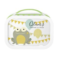 CUTE YELLOW GREY FROG PARTNER IN CRIME CELEBRATION LUNCH BOX - toddler youngster infant child kid gift idea design diy