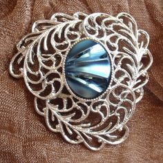 Sarah Coventry Silver Tone Blue Iridescent Pin by cutterstone, $12.00