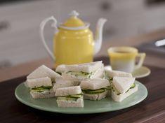 Cucumber and Lemony Dill Cream Cheese Tea Sandwiches recipe from Melissa d'Arabian via Food Network
