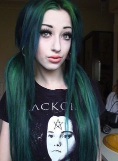 Long dark green hair in pigtails. I love the flow of the different colours green!