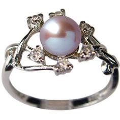 Amazon.com: Entwining Vine Cultured Pearl Cubic Zirconia Ring in Platinum Overlay CAREFREE Sterling Silver, Lavender (Size 8): Dahlia: Jewelry