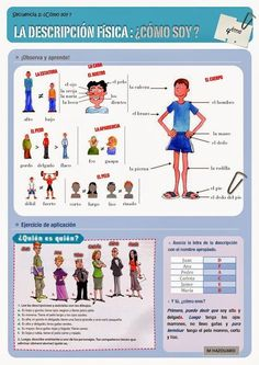 CLASE DE ESPAÑOL: Vocabulario de la descripción física: ✿ Spanish Learning/ Teaching Spanish / Spanish Language / Spanish vocabulary / Spoken Spanish / More fun Spanish Resources at http://espanolautomatico.com ✿ Share it with people who are serious about learning Spanish!